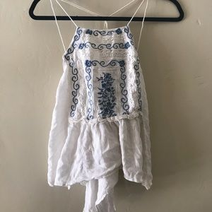 embroidered free people tank top